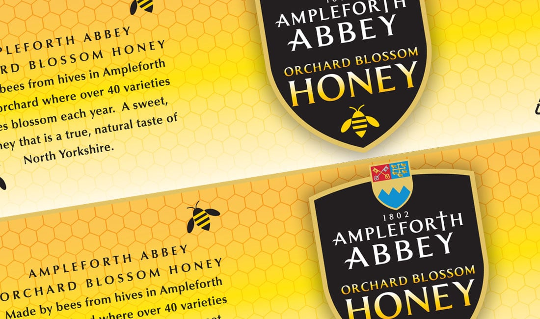 Ampleforth Abbey honey packaging label