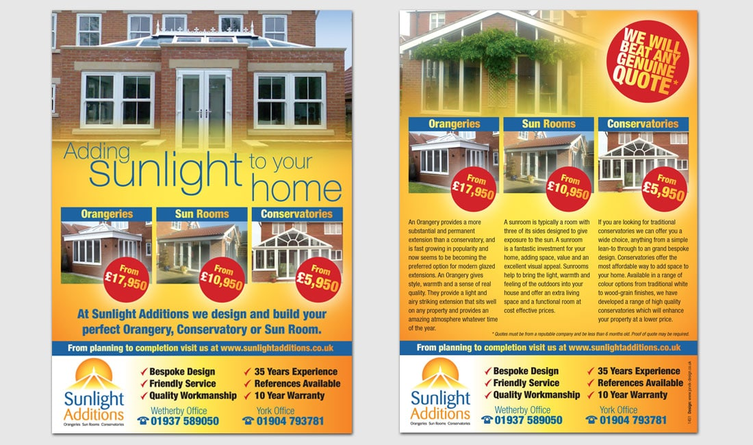 Sunlight Additions leaflet