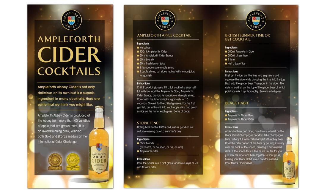 Ampleforth Abbey cider cocktails menu