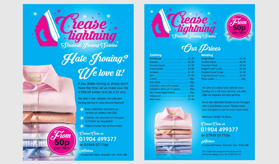 Leaflet design for Crease Lightning Ironing Service