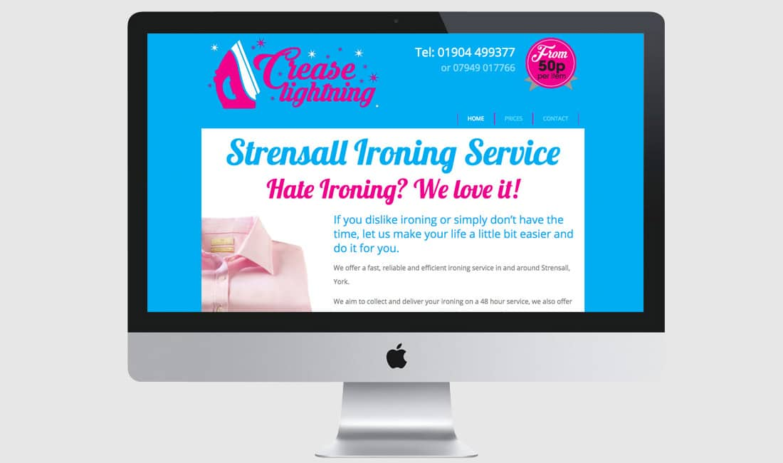 Website design for Crease Lightning Ironing Service