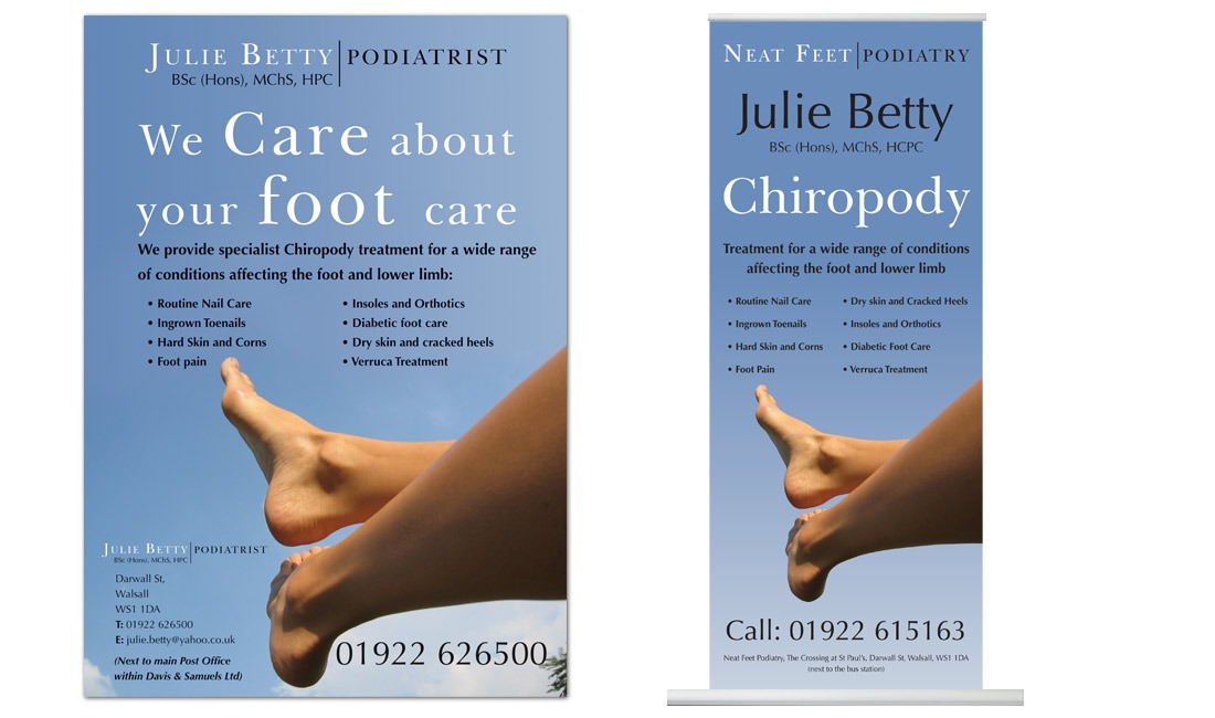 Julie Betty Podiatrist's Banner and poster