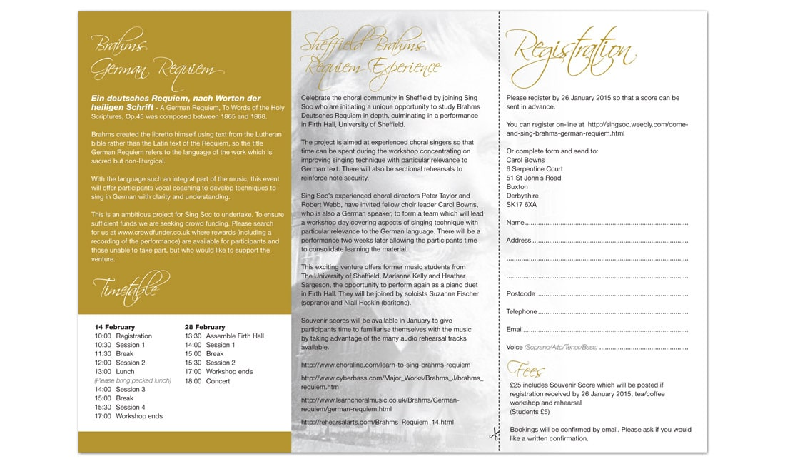 University of Sheffield Music Event Leaflet