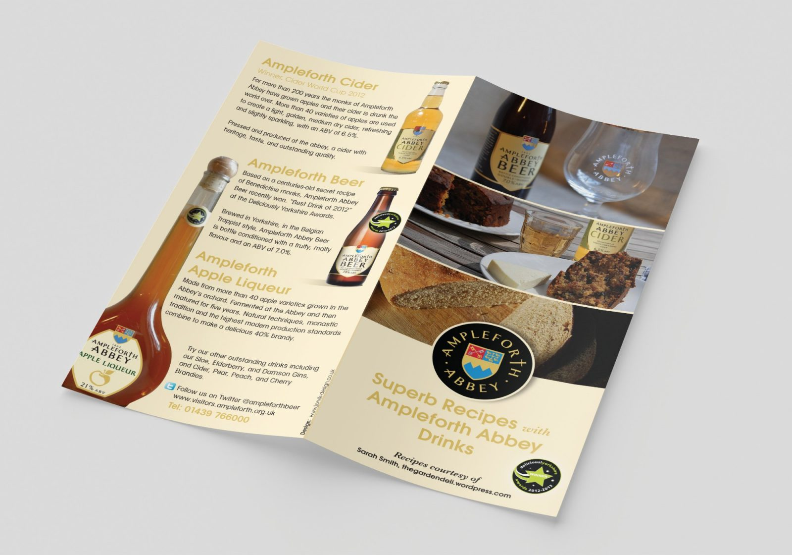 An A4 folded leaflet design for Ampleforth Abbey Drinks showing the outside pages