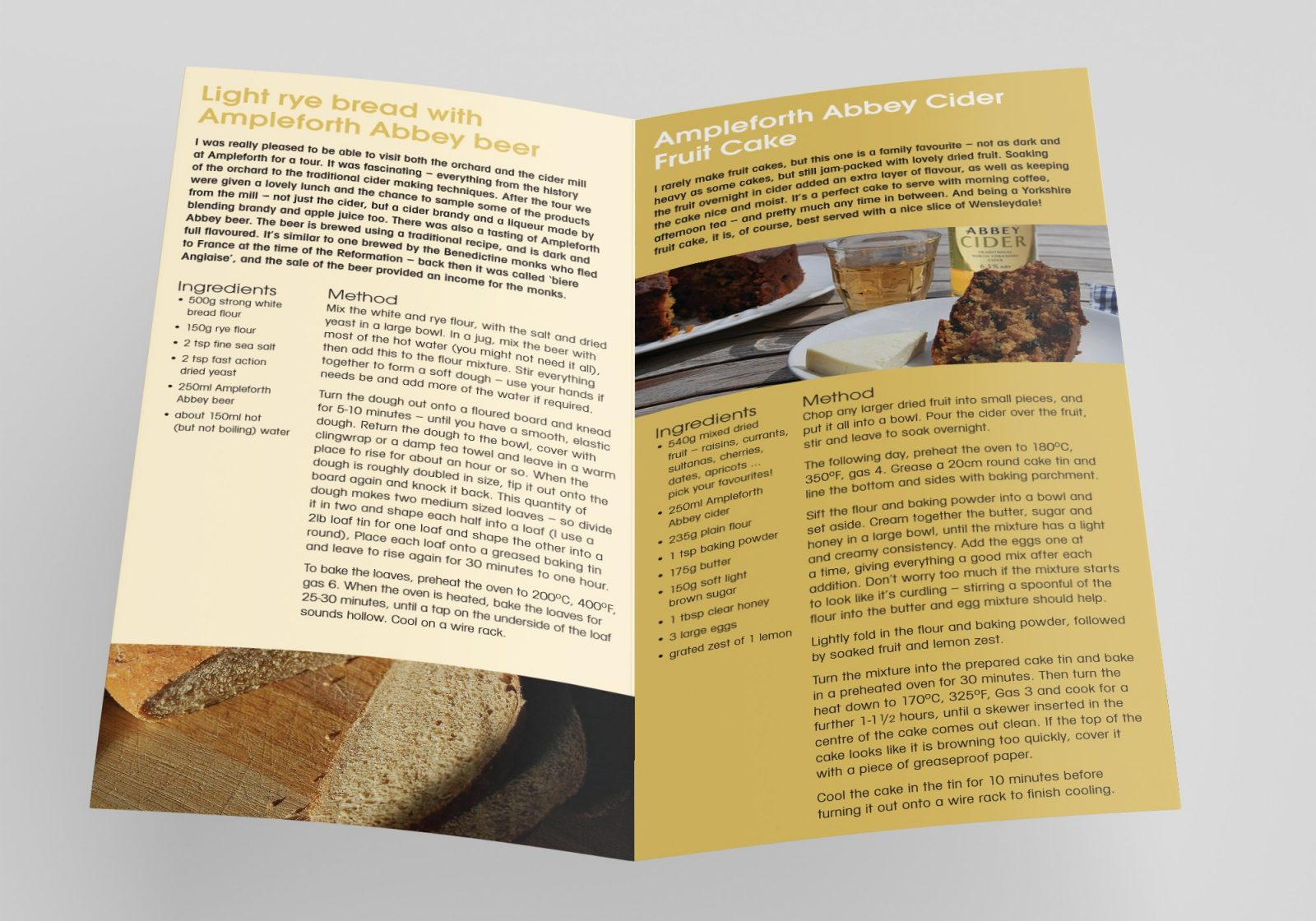 An A4 folded leaflet design for Ampleforth Abbey Drinks showing the inside pages