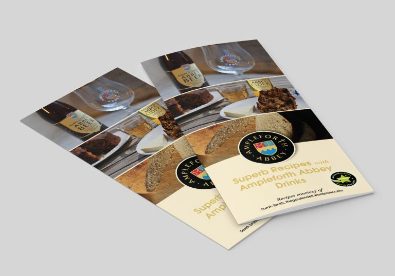 An A4 folded leaflet design for Ampleforth Abbey Drinks showing the front page