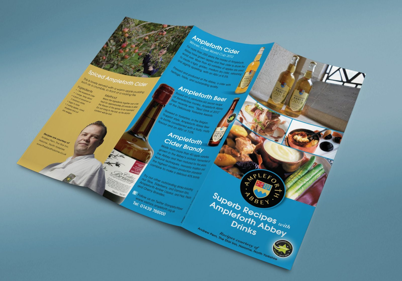 An A4 folded leaflet design for Ampleforth Abbey Drinks recipes