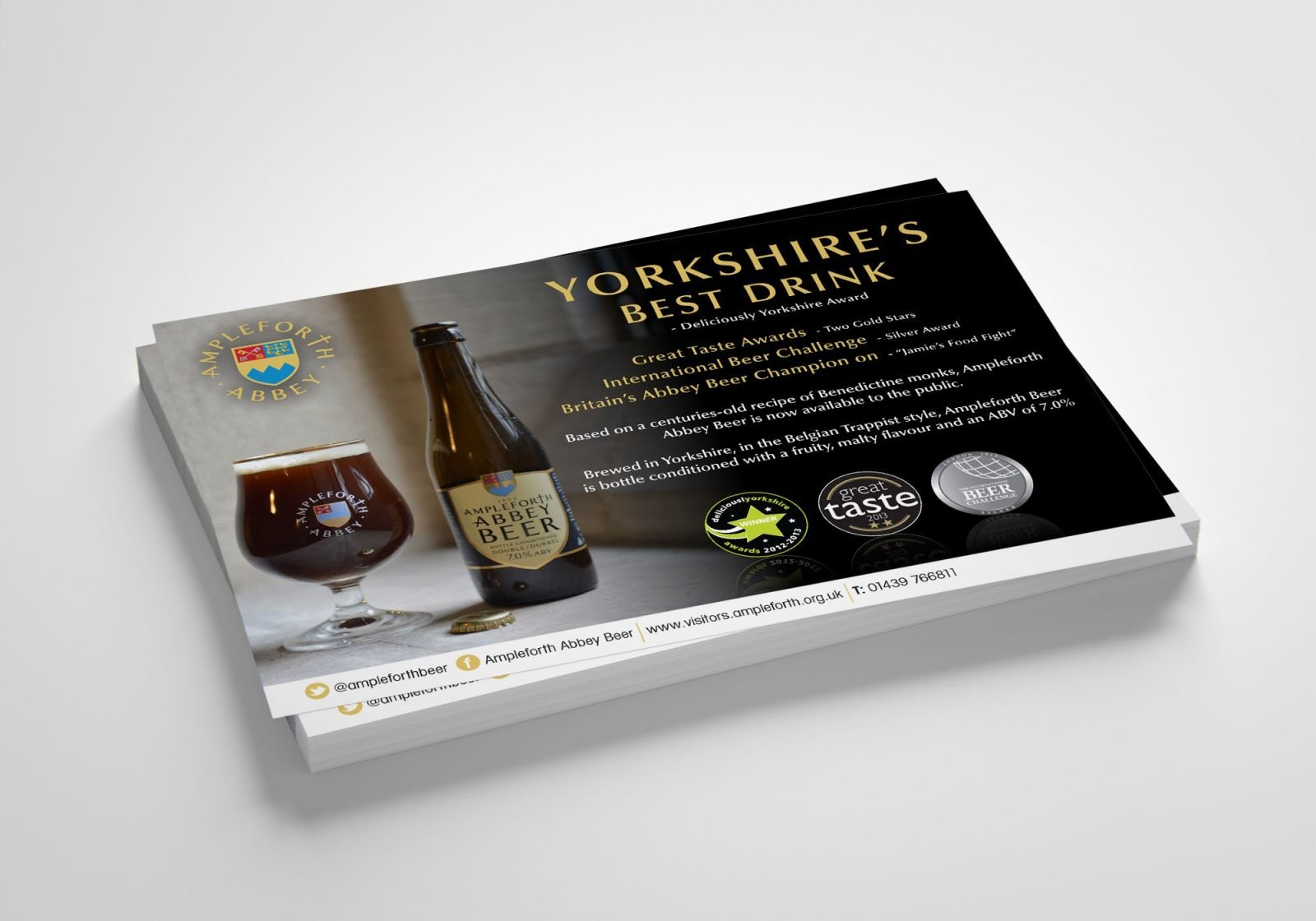 An A6 postcard design for Ampleforth Abbey Drinks range