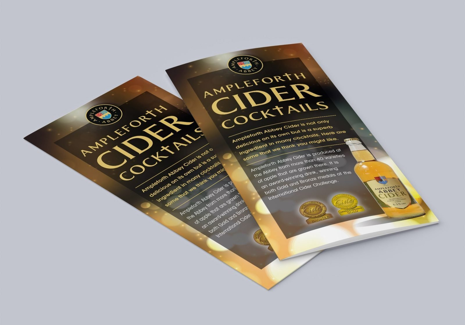 An A4 folded leaflet design for Ampleforth Abbey Drinks cider cocktails