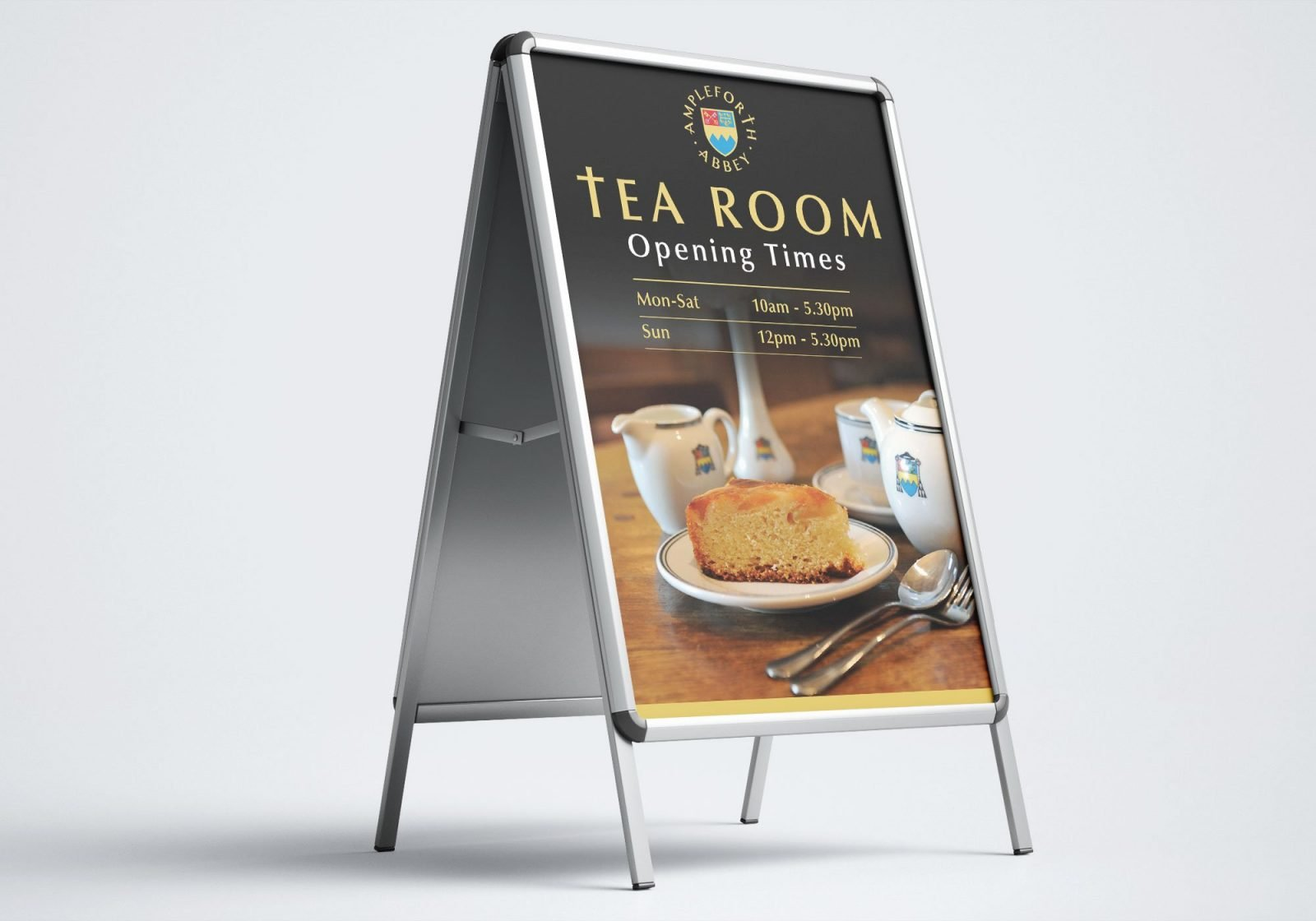 An A frame stand design for Ampleforth Abbey Tea Rooms