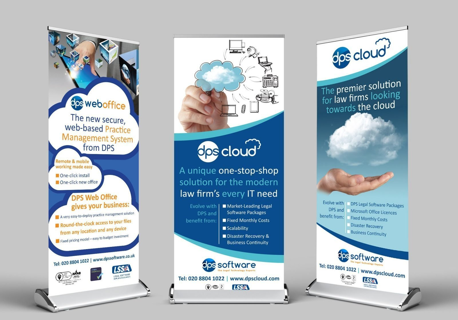 Three roller banners for DPS Software each with a different design