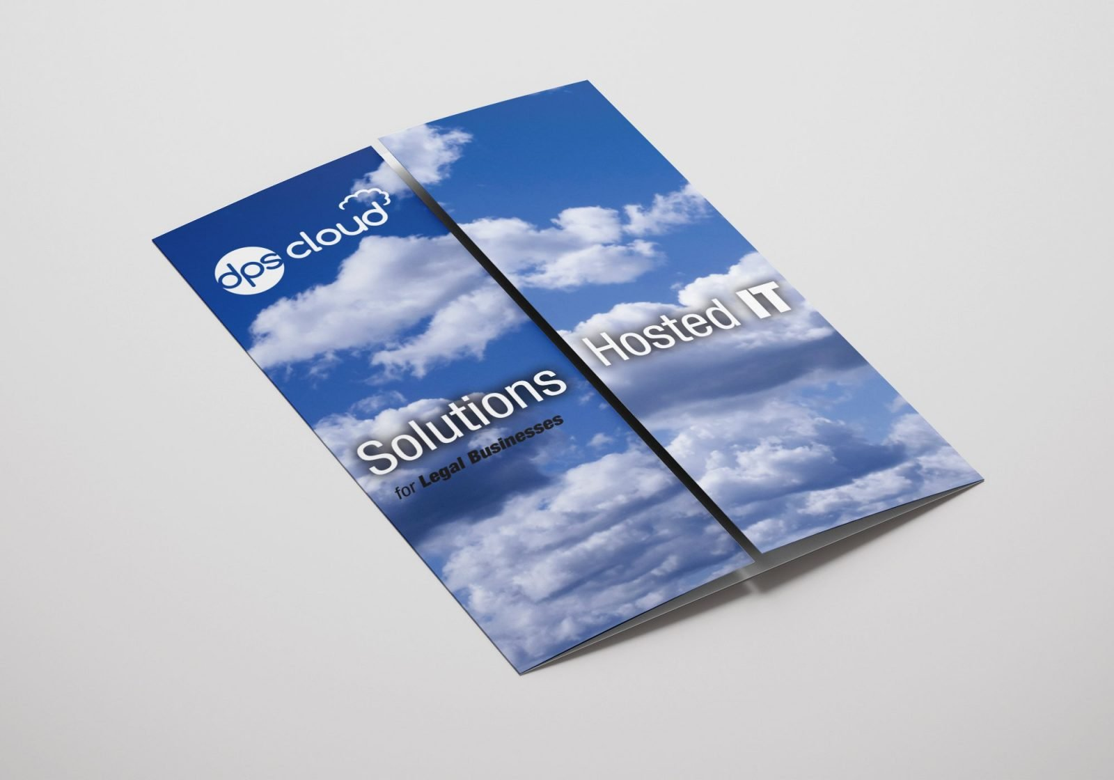 A gate folded brochure for DPS Software showing the front pages