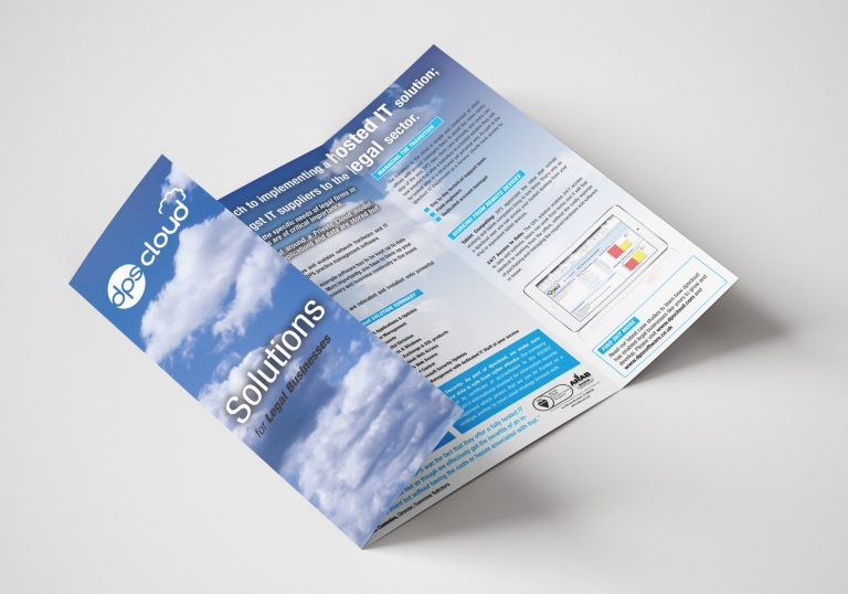 A gate folded brochure for DPS Software showing the front and inside pages