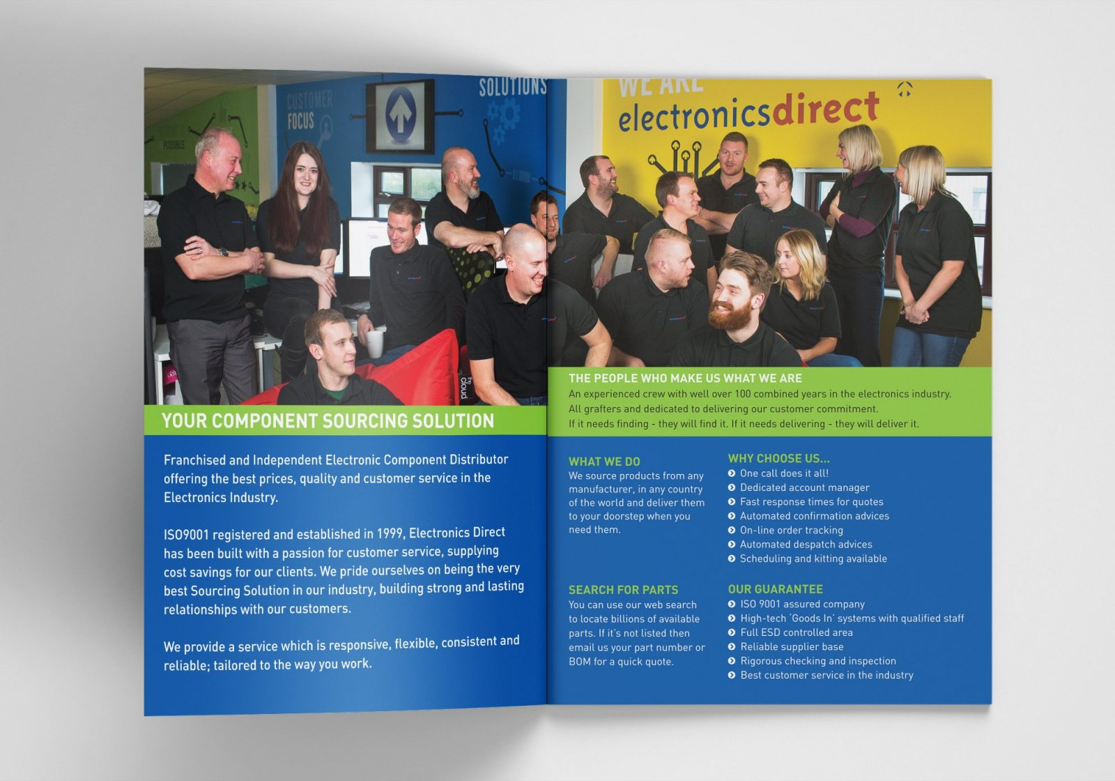 A4 Brochure for Electronics Direct showing the inside spread