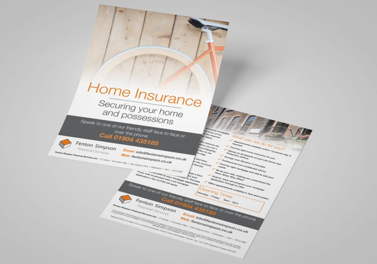 Two A5 Leaflets for Fenton Simpson Financial Services in York