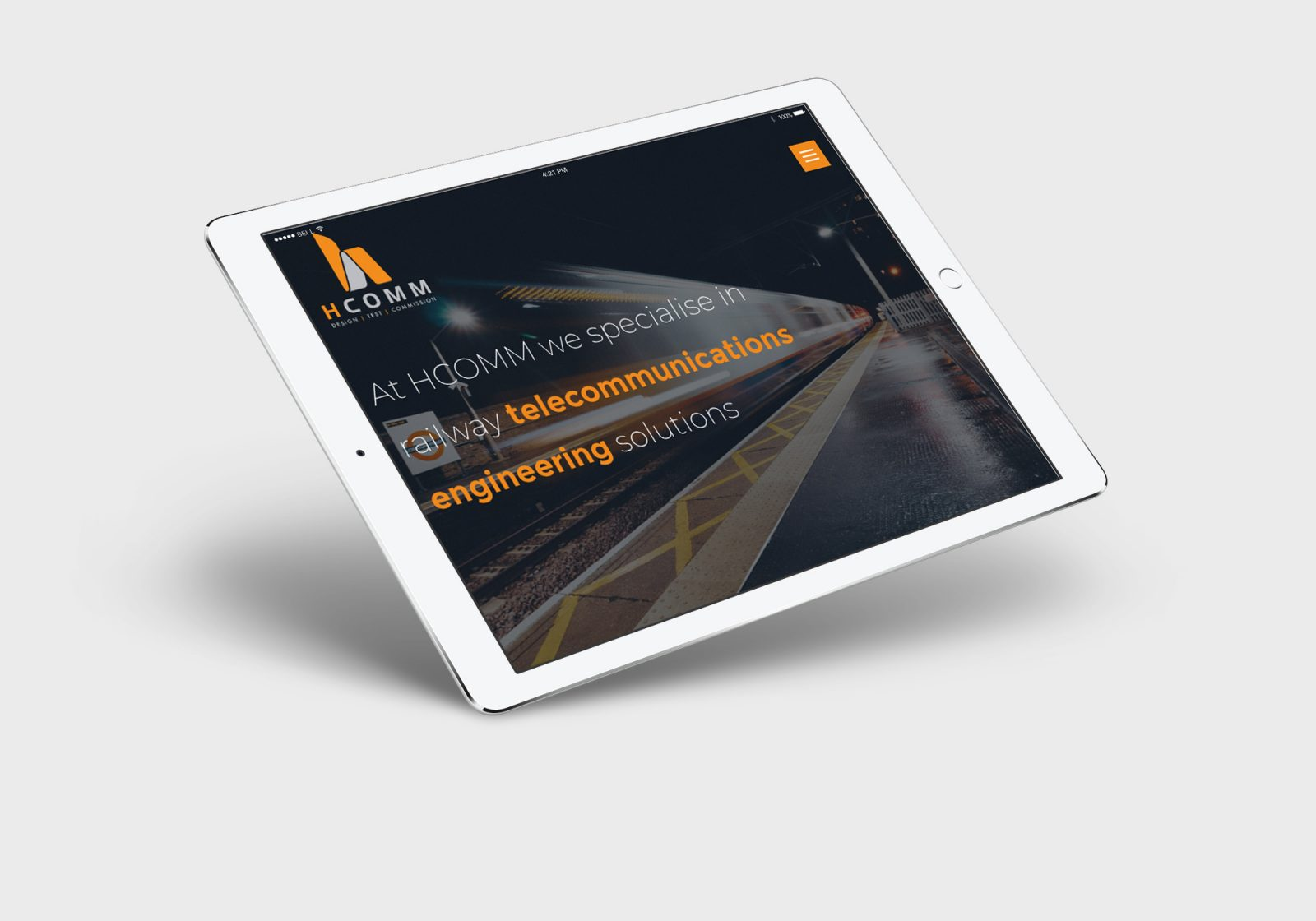 Hcomm's new website on a ipad
