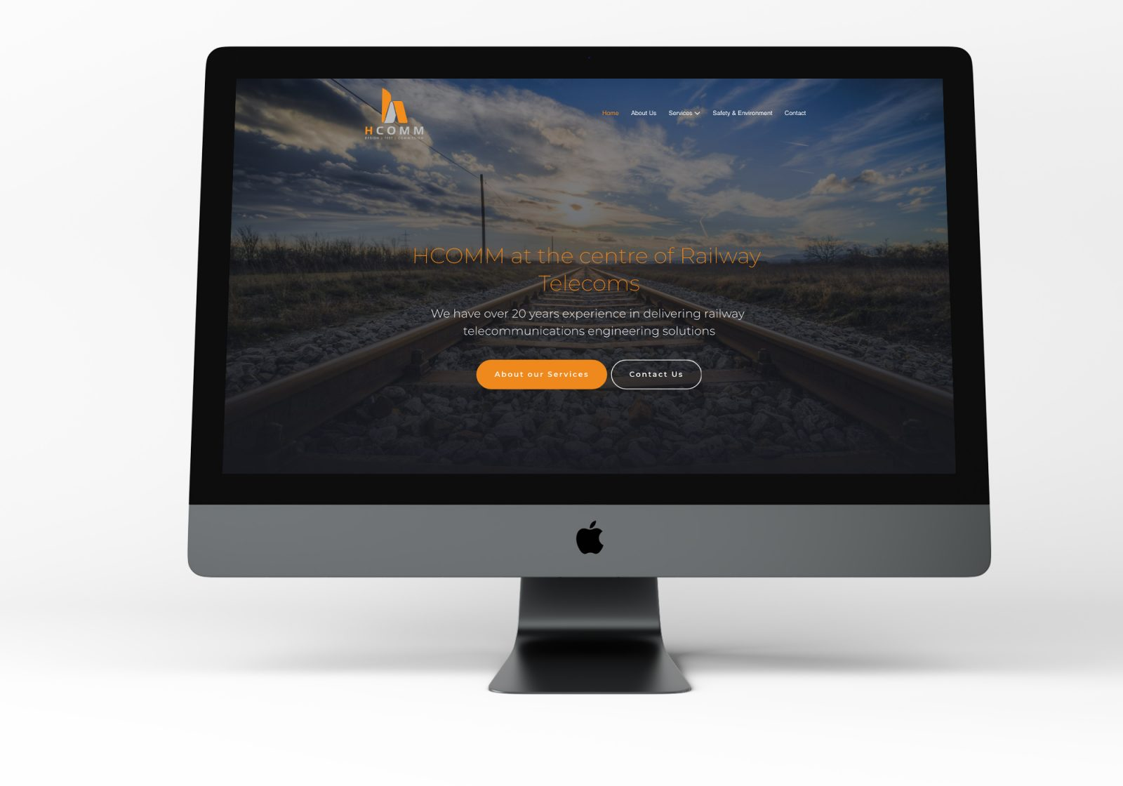Hcomm's new website on a iMac