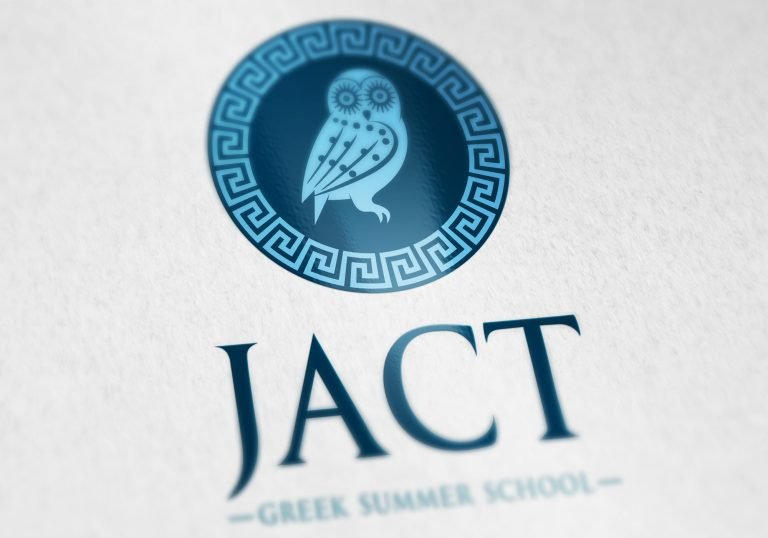 Close up of a logo on paper for JACK Greek Summer School
