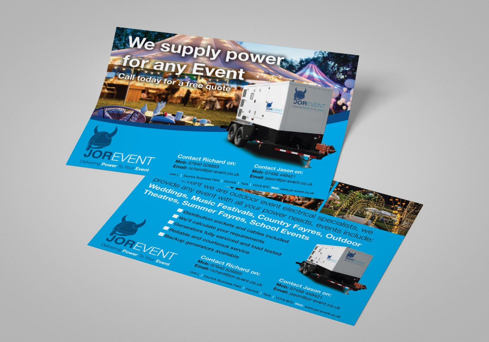 An A5 double sided flyer for Jor-Event generator hire