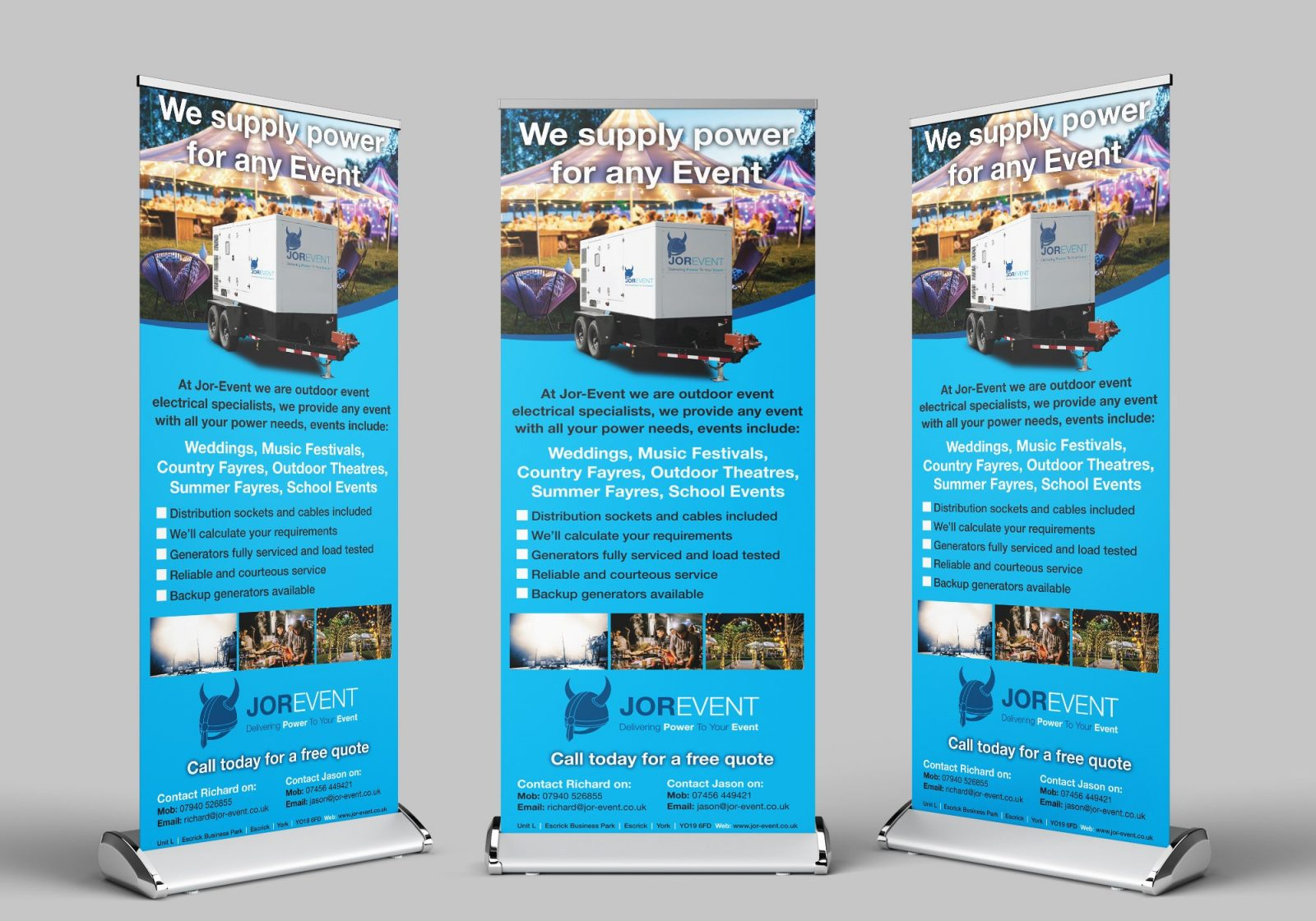 Three roller banners showing the design for Jor-Event generator hire
