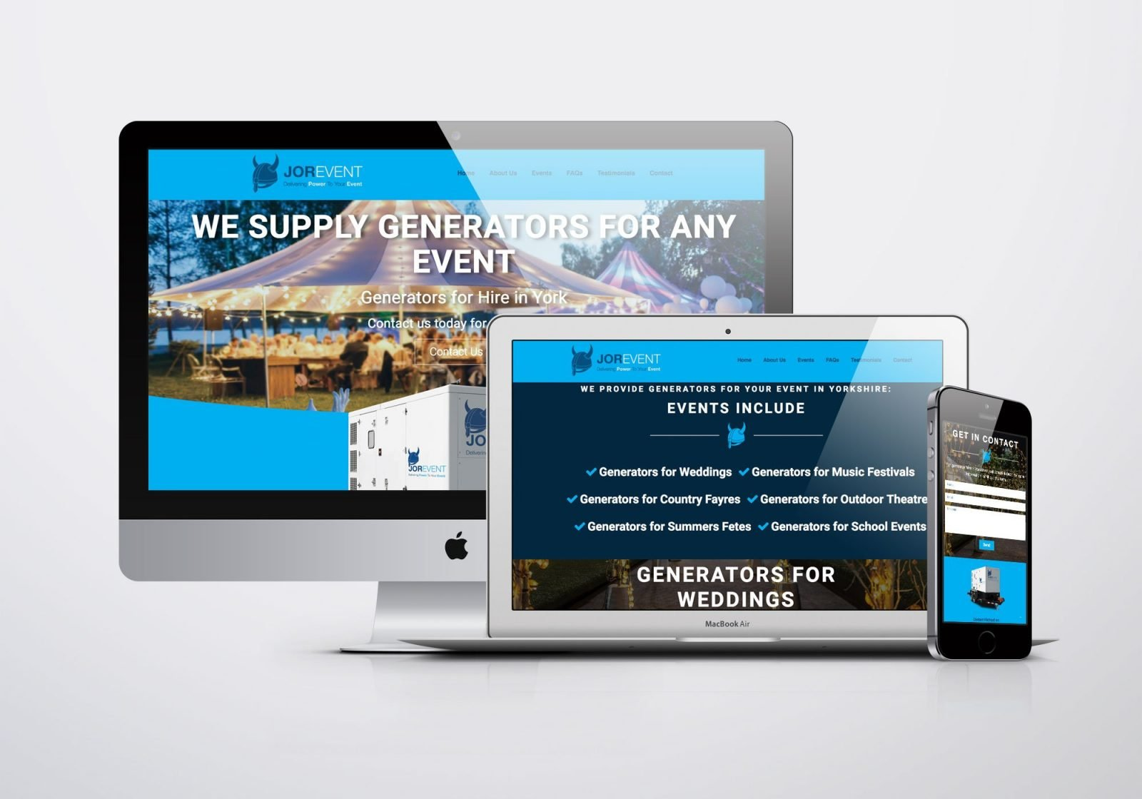 A desktop computer, a laptop and phone showing images of Jor-Event generator hire's website design