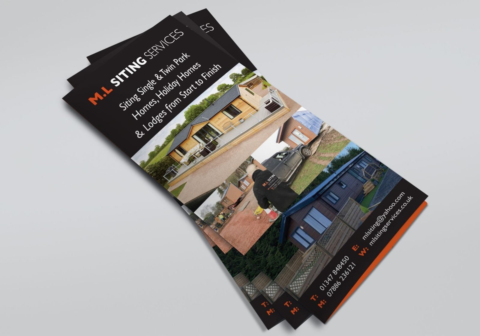An A4 folded leaflet design for M.L Siting Services, showing the front page