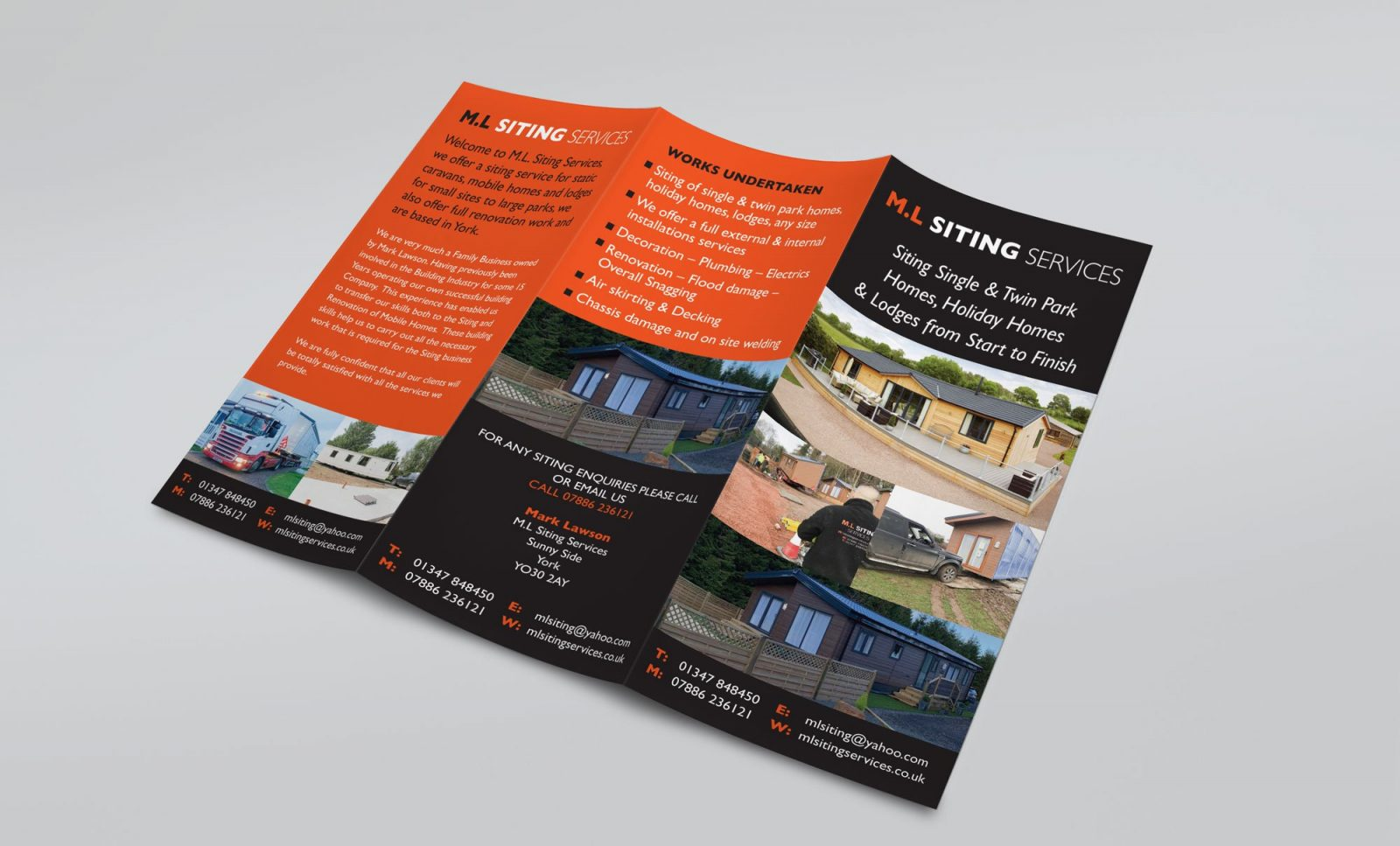 An A4 folded leaflet design for M.L Siting Services, showing the outer pages