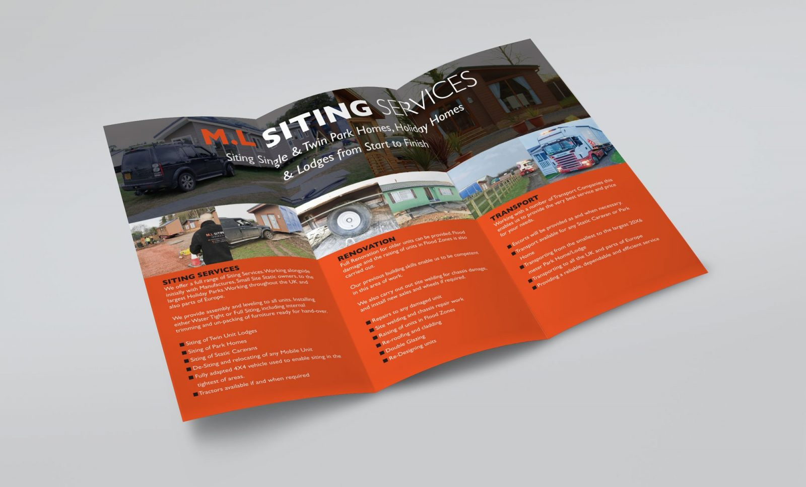 An A4 folded leaflet design for M.L Siting Services, showing the inner pages