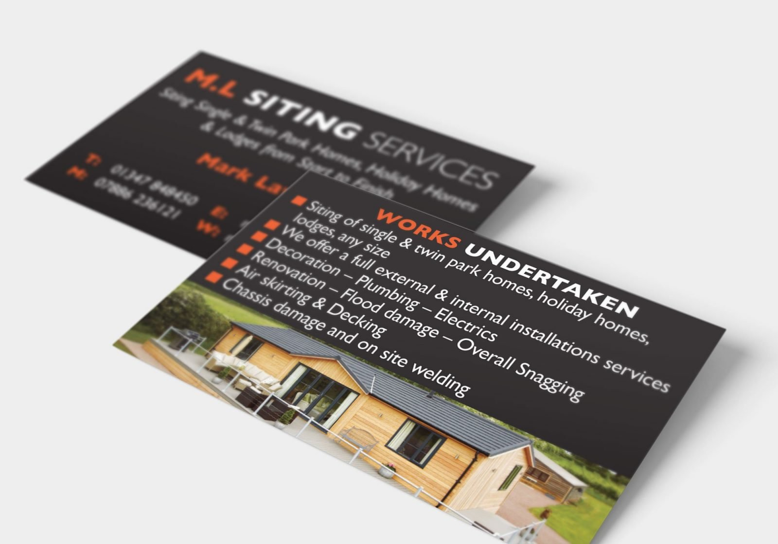 Business card design for M.L Siting Services, showing the front and back design