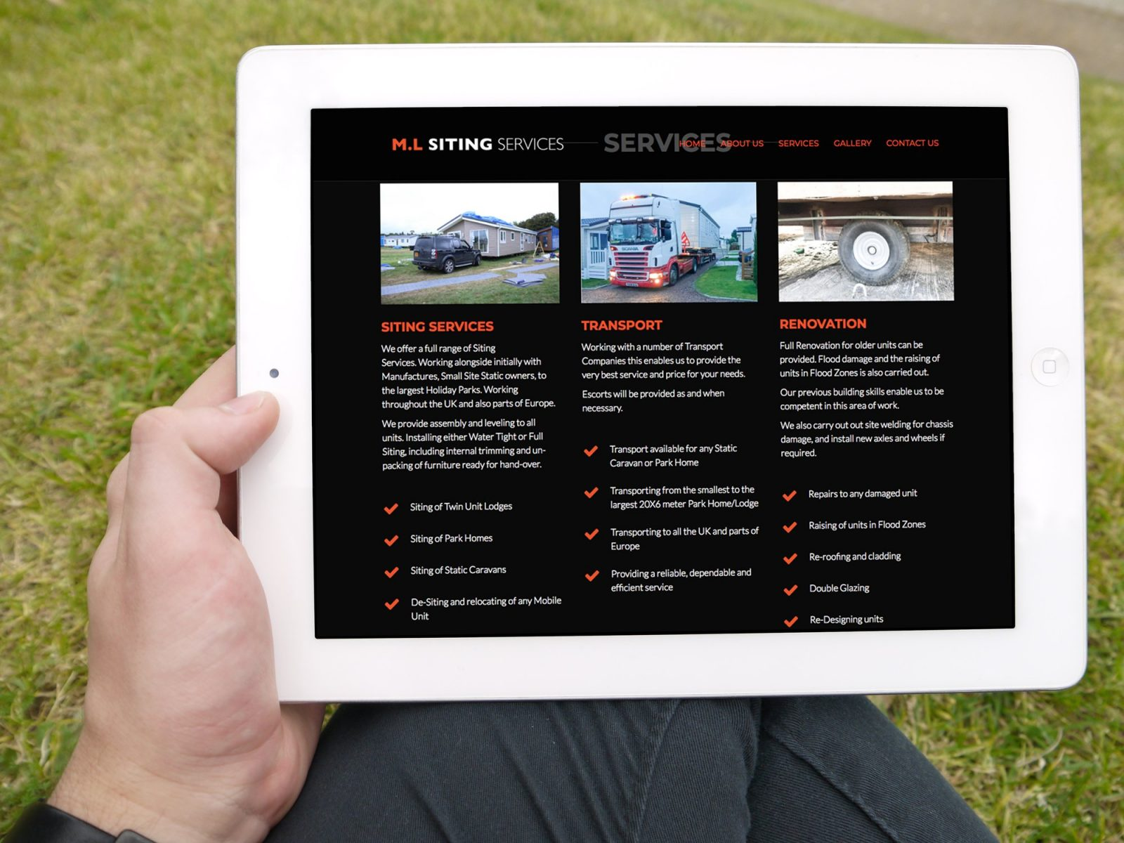 A tablet showing the home page of the website design for M.L Siting Services