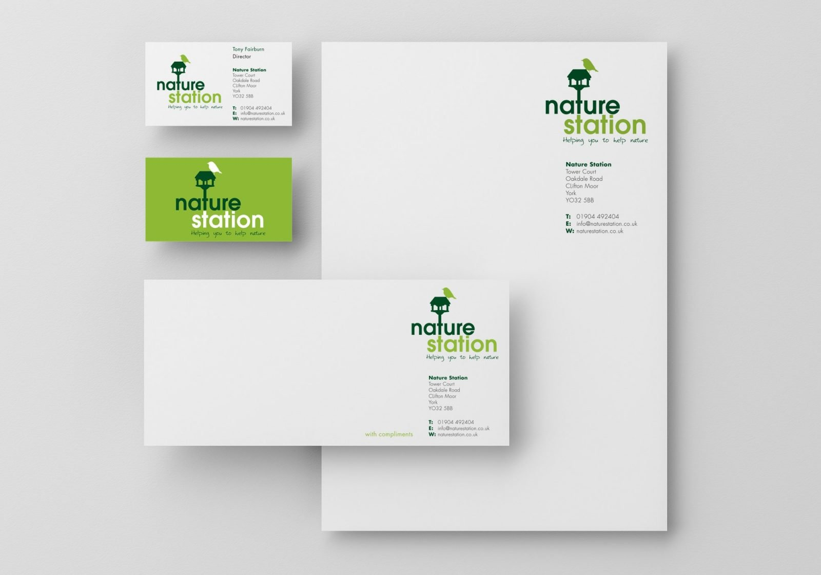 A4 letterhead, compliment slip and business card design for Nature Station