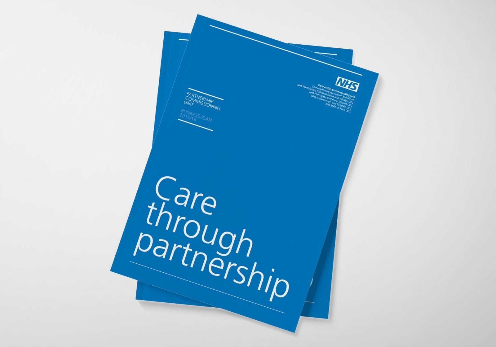 An A4 brochure design for the NHS Partnership Commissioning Unit showing the cover
