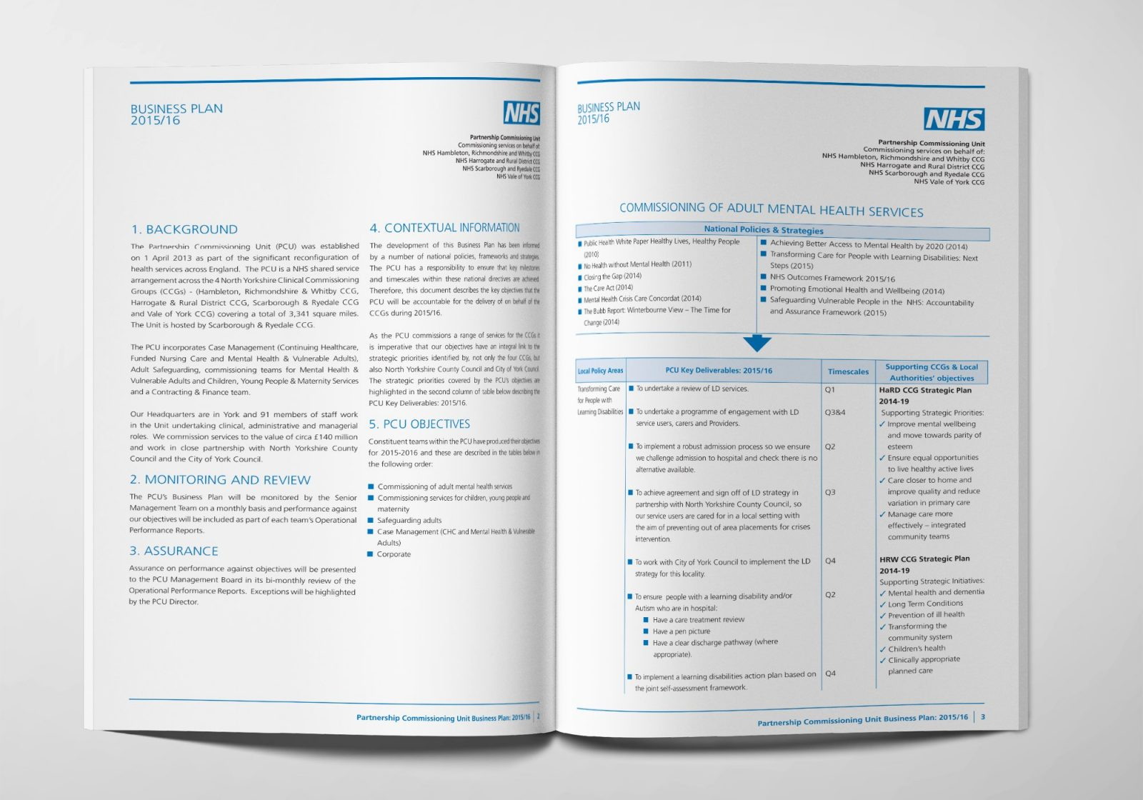 An A4 brochure design for the NHS Partnership Commissioning Unit showing an inner spread