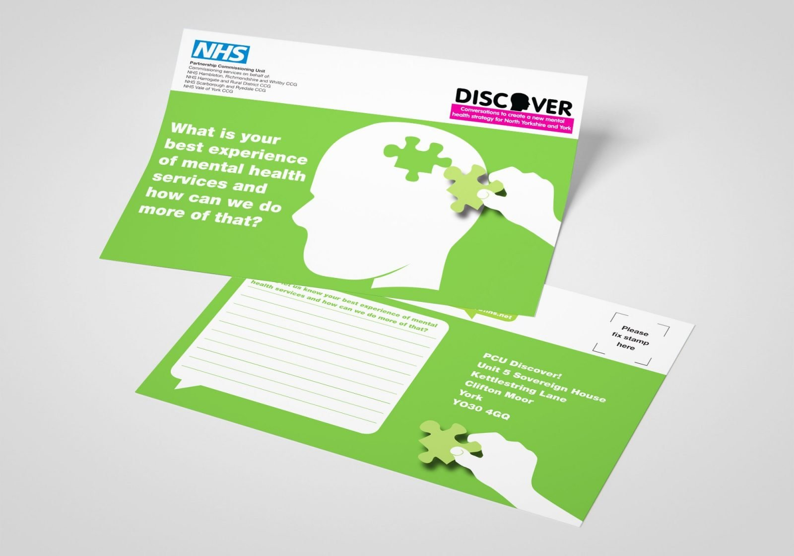 An A5 leaflet design for the NHS Partnership Commissioning Unit