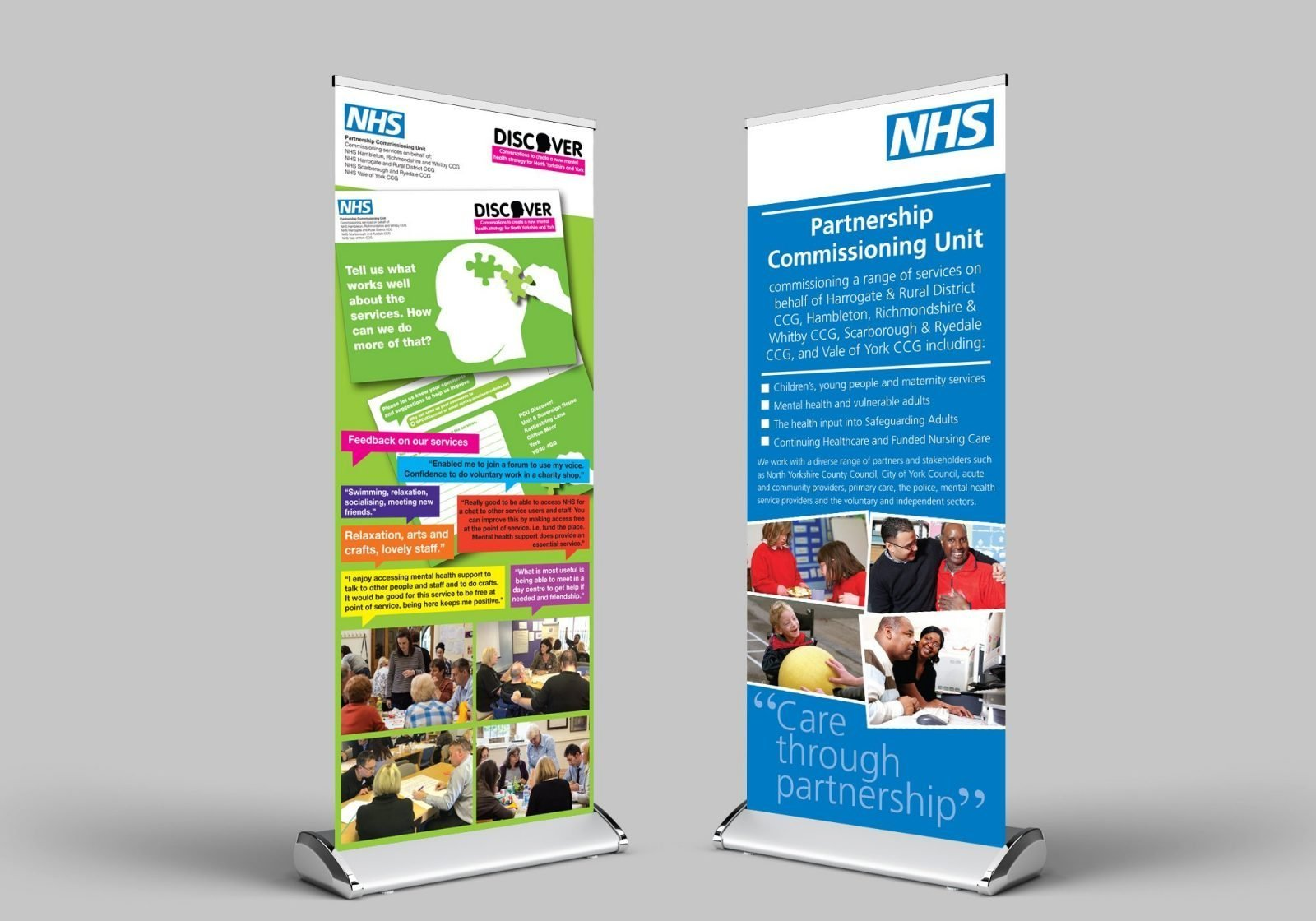 Two roller banner designs for the NHS Partnership Commissioning Unit