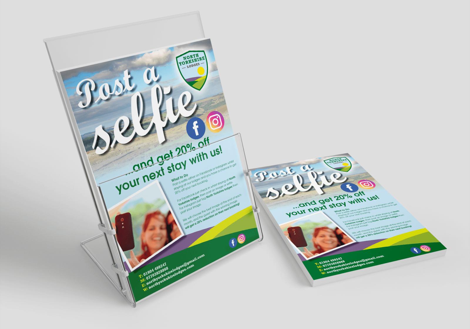 Leaflet for North Yorkshire Lodges about posting a selfie
