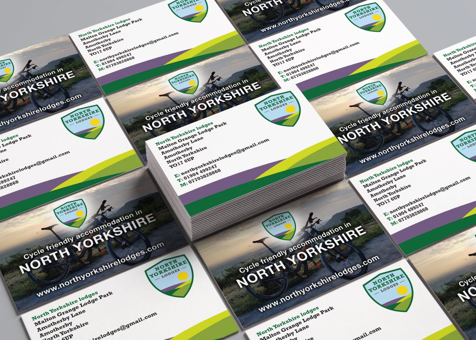 Business cards for North Yorkshire Lodges showing the front and back