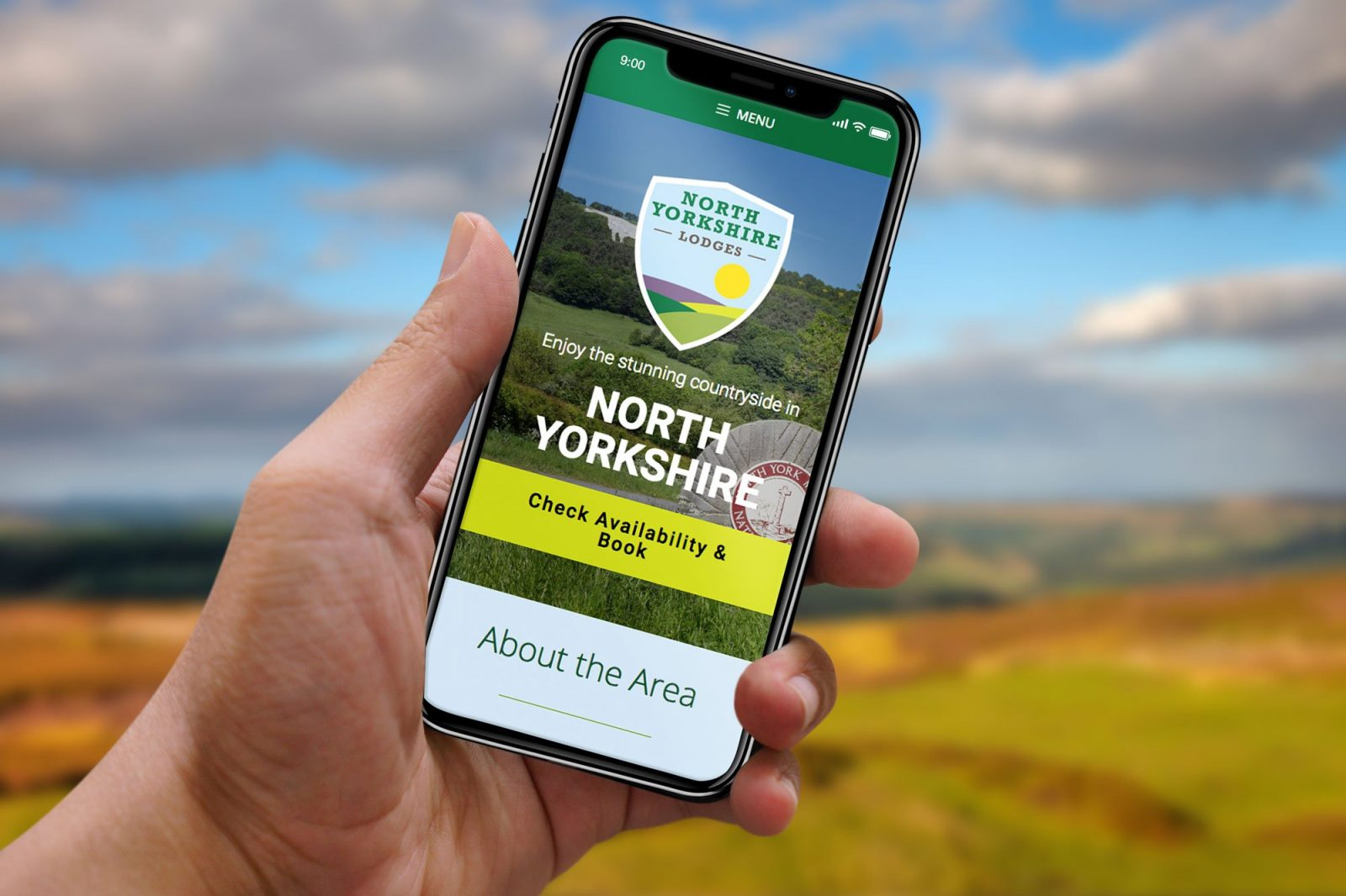 A phone showing the home page for North Yorkshire Lodges website design