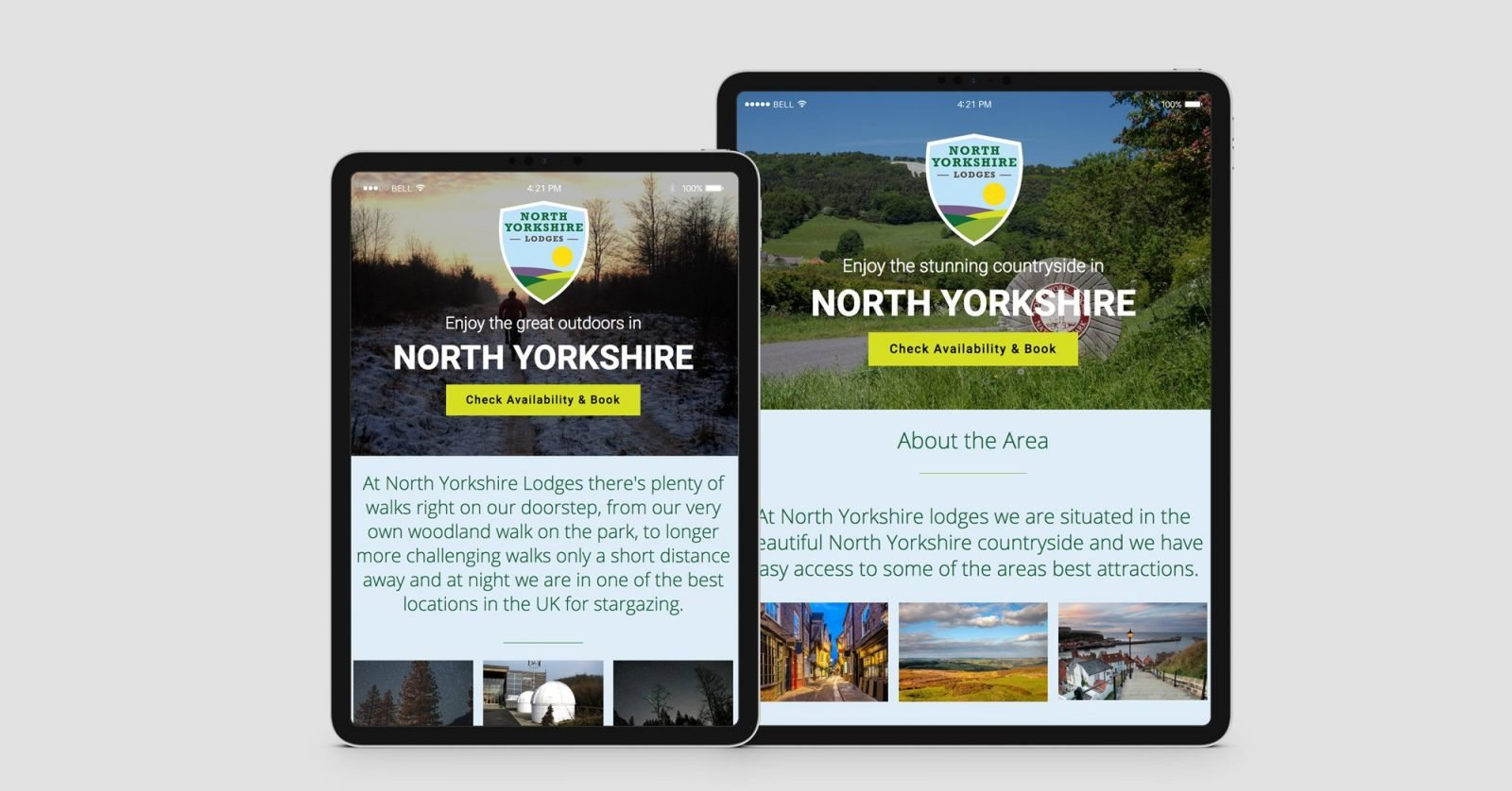 Two ipads showing the home page for North Yorkshire Lodges website design