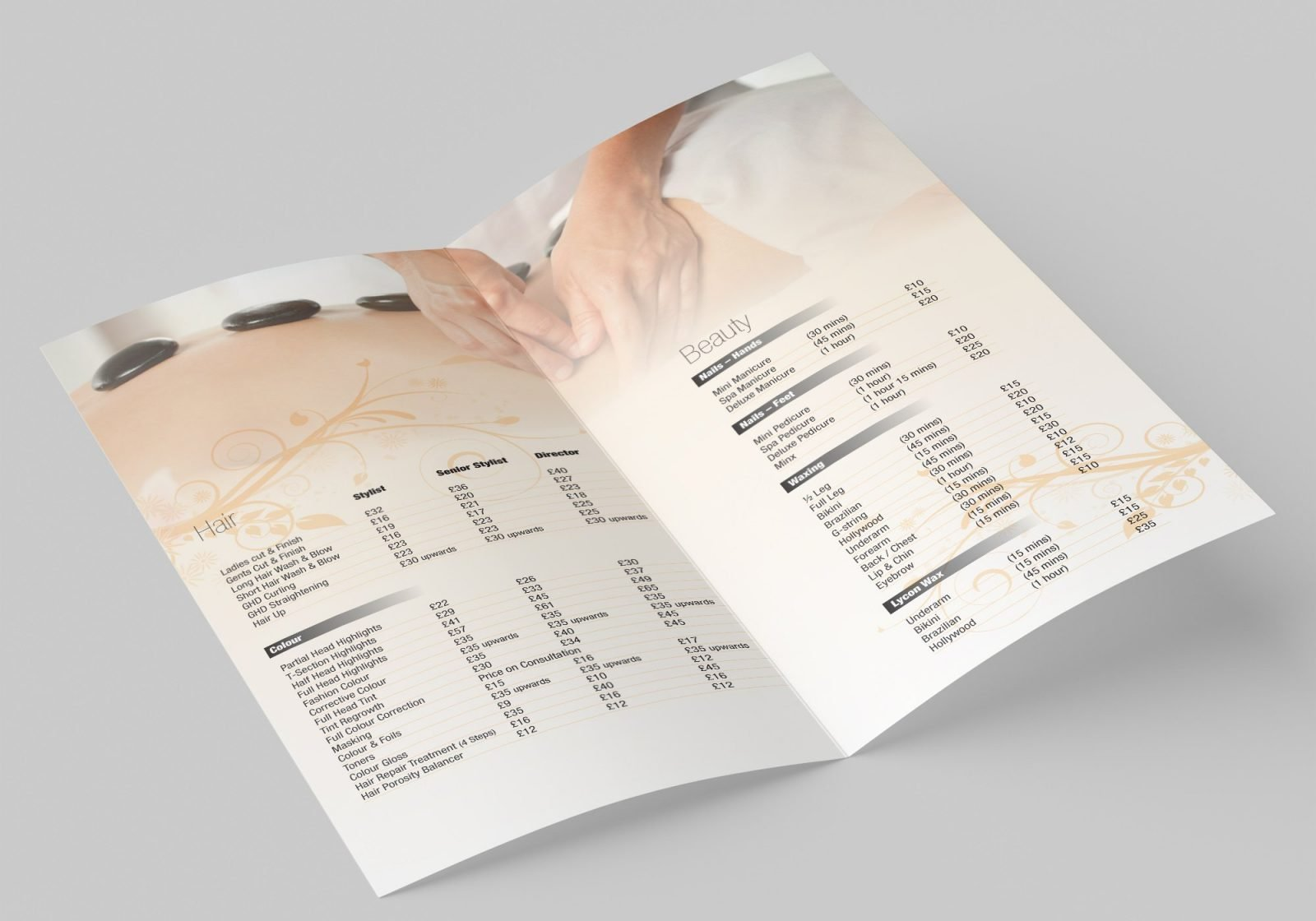 A Folded A4 Leaflet for Push Spa Hair dressers showing the inside pages