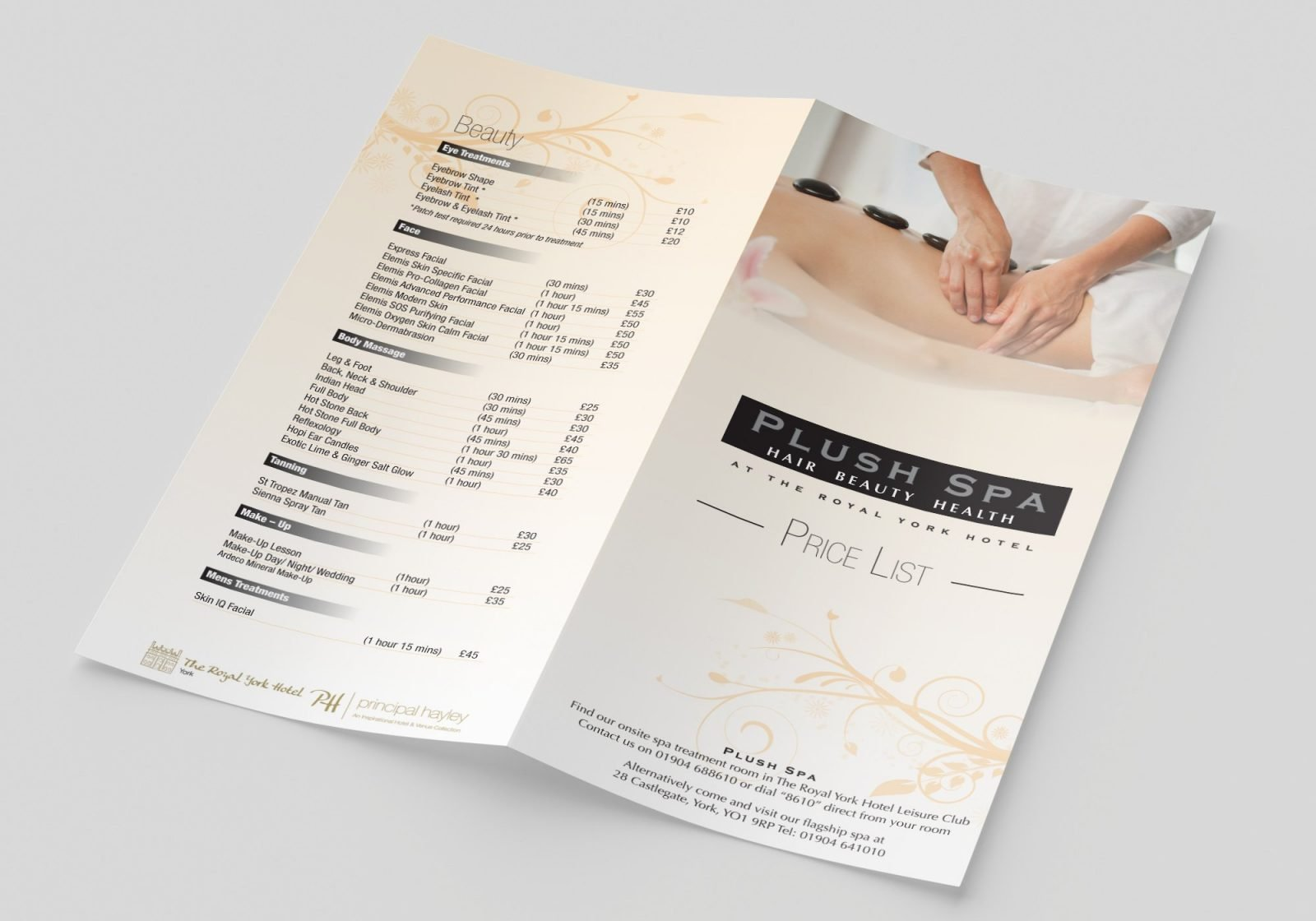 A Folded A4 Leaflet for Push Spa Hair dressers showing the front and back pages