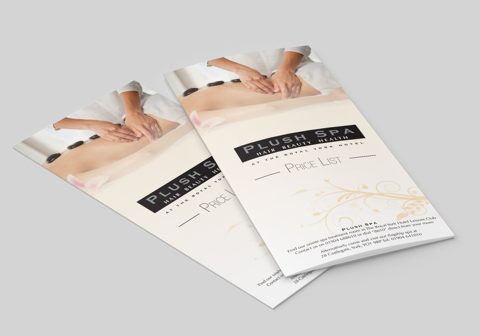 A Folded A4 Leaflet for Push Spa Hair dressers showing the front page