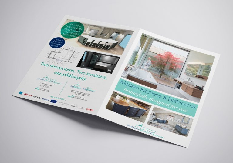 A4 Brochure for Pocklington Bathrooms and Kitchens showing the front and back pages