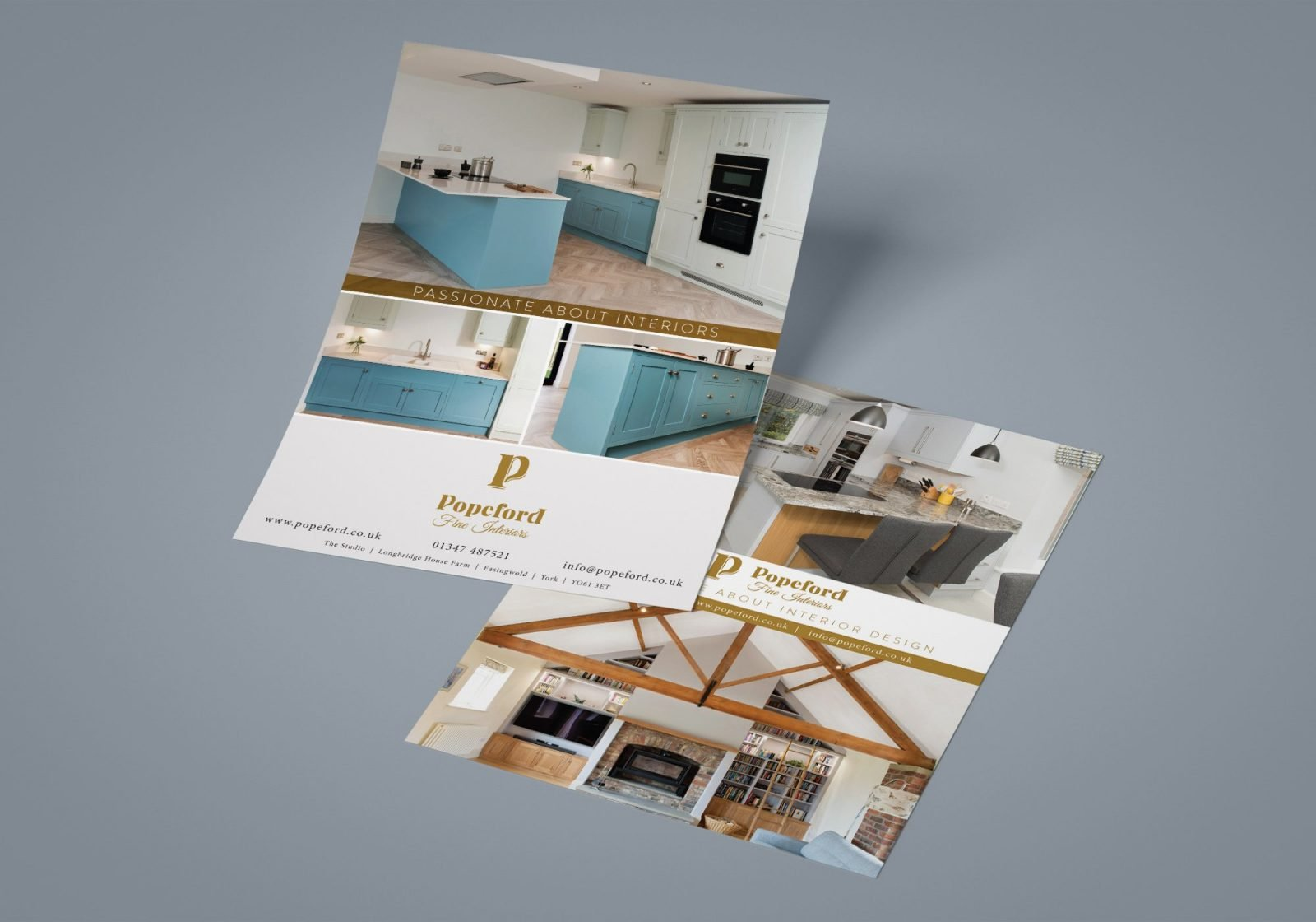 A5 leaflet design for Popeford Interior Designers showing both sides