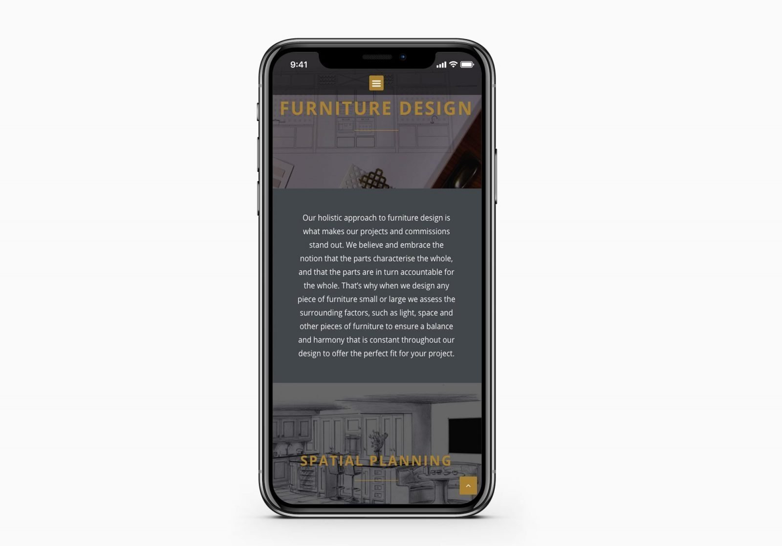 A mobile phone showing the home page for Popeford Interior Designers website design