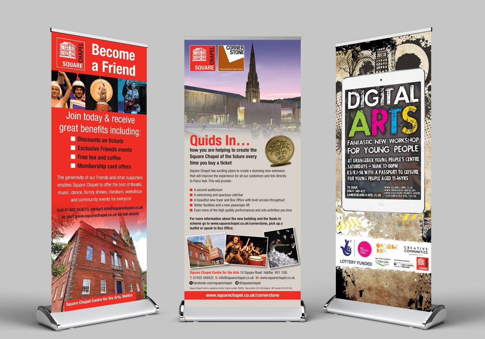 Three roller banner designs for for Square Chapel centre for the Arts in Halifax