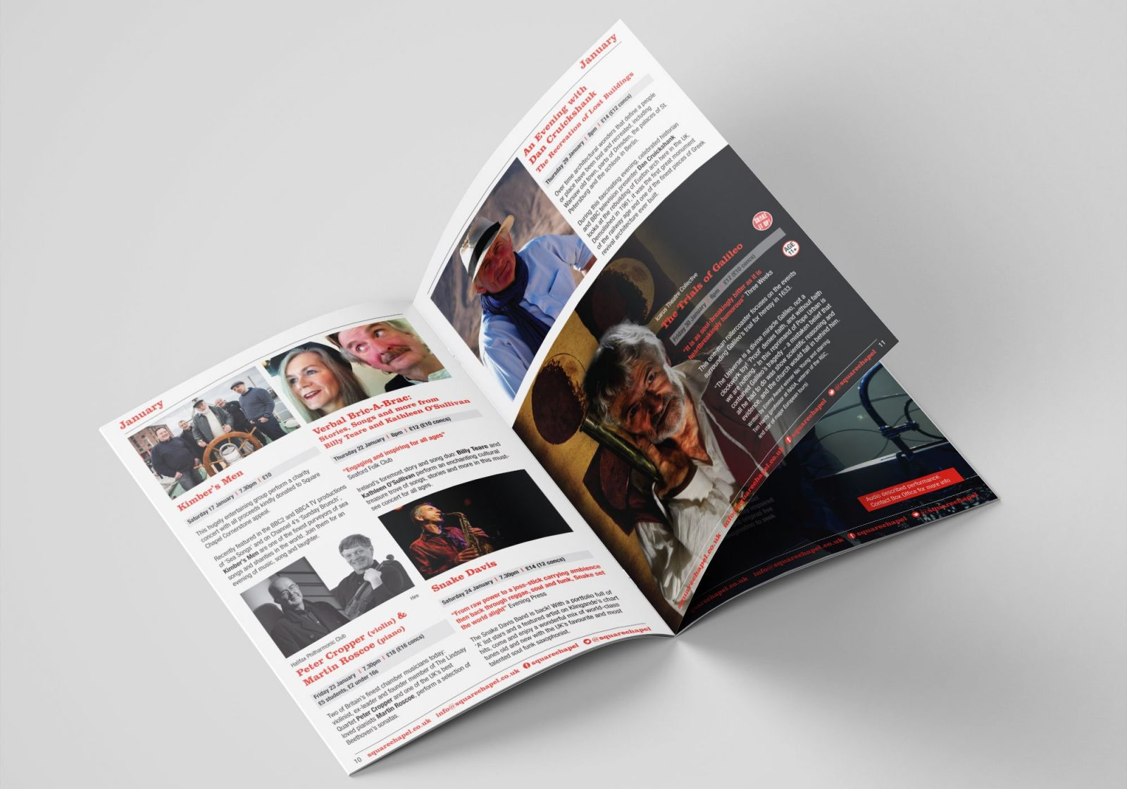 A brochure design for Square Chapel centre for the Arts in Halifax showing the inside pages