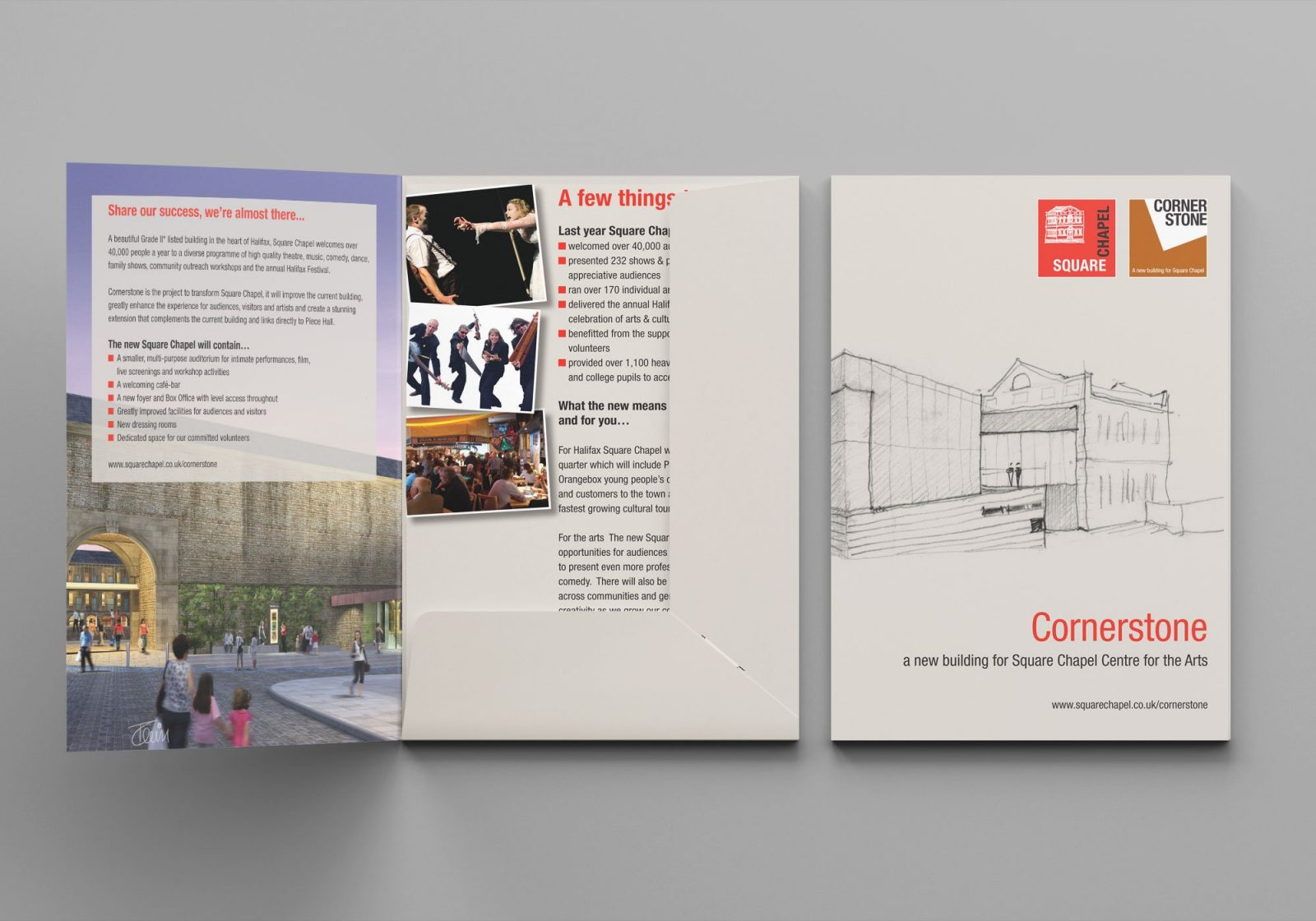 An A5 folder and inserts design for Square Chapel centre for the Arts in Halifax