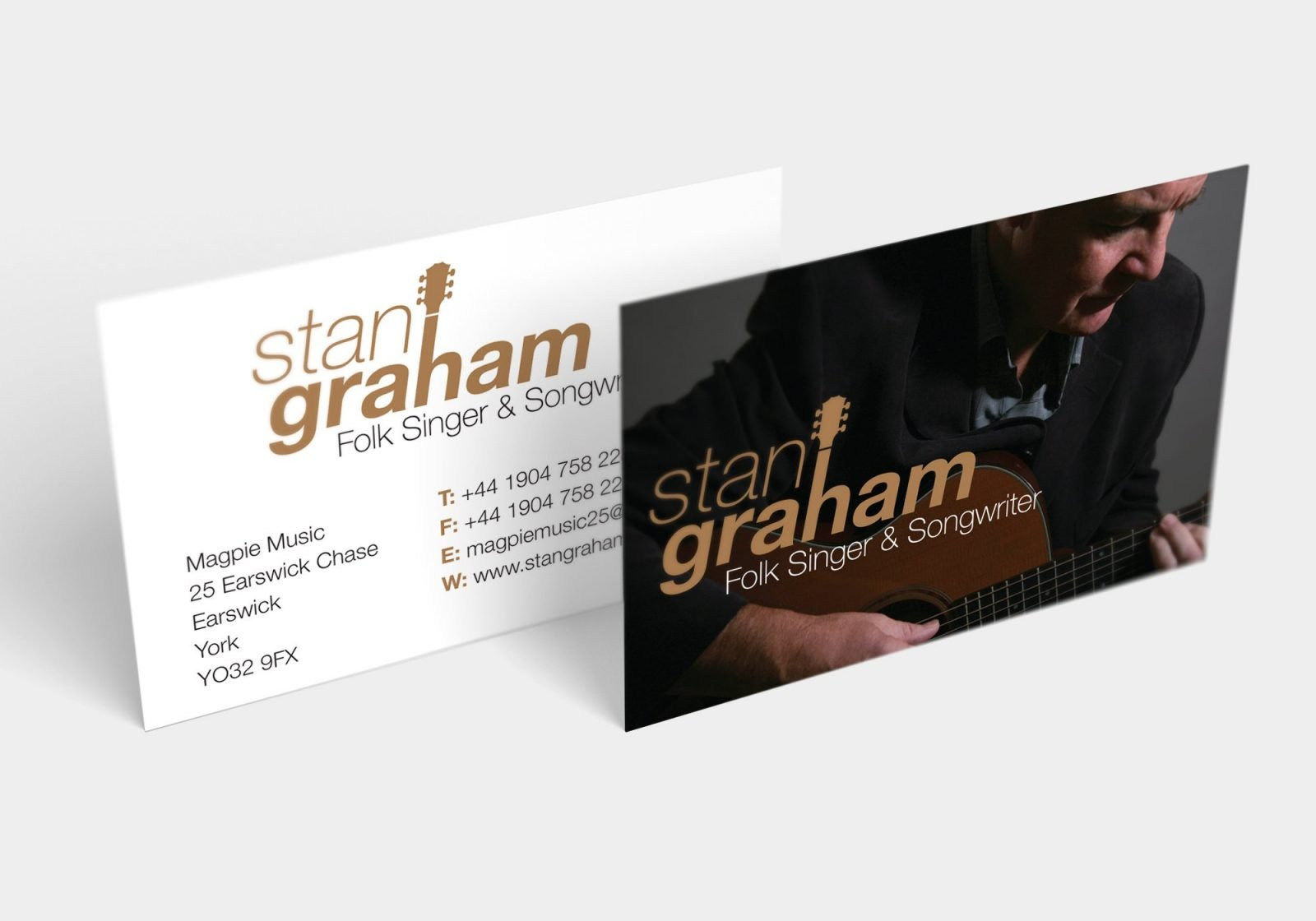 A business card design for Stan Graham singer songwriter