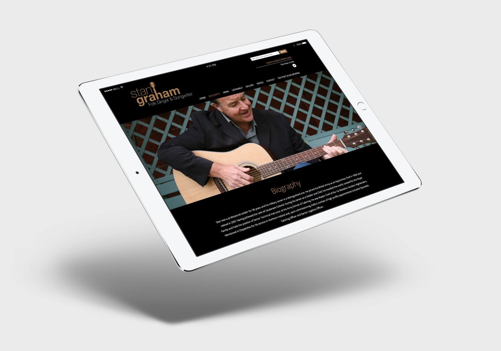 An ipad showing the home page design for Stan Graham, singer songwriter's website